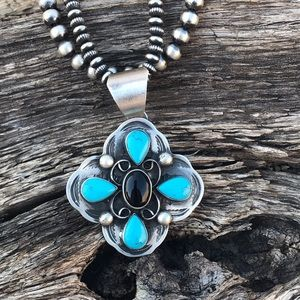 Chimney Butte Sterling  Turquoise Onyx  Pendant